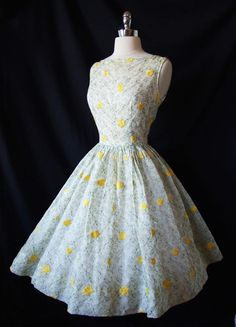 Vintage 50s Garden Party Dress Sheer Embroidered Wedding ~ Curatorial Vintage