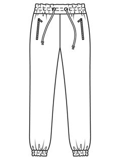 Clothing Sketches, Dress Sketches, Fashion Design Template, Fashion Design Sketches, Big Fashion, Fashion Flats, Croquis Fashion, Joggers Outfit, Flat Sketches
