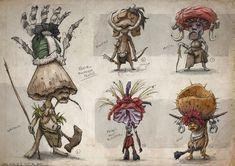 Tribal Mushroom People, Gabe Kralik on ArtStation at https://www.artstation.com/artwork/tribal-mushroom-people
