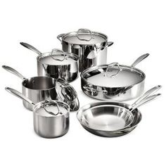 The Tramontina Gourmet Tri-Ply Clad 10 Pc Cookware Set is a complete collection of high-end, versatile and durable cookware. Providing exceptional performance, distributing heat quickly and evenly without hotspots, this cookware heats from all sides Cast Iron Cookware, Cookware Set, Hot Pot, Induction Cookware, Stainless Steel Dishwasher, Glass Ceramic, Fun Cooking, Slow Cooking, Cooking Tools