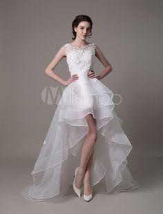 Organza assimétrico casamento vestido de alta baixa a linha com flor de perolização do laço