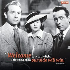 """Casablanca 1942 Paul Henreid, Ingrid Bergman, Humphrey Bogart """"Welcome back to the fight. This time, I know our side will win. Humphrey Bogart, Nora Ephron, Lund, Old Movies, Great Movies, Vintage Movies, Ingrid Bergman Movies, Classic Hollywood, Romantic Movies"""