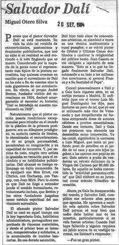 Salvador Dalí, por Miguel Otero Silva. Publicado el 24 de septiembre de 1984.