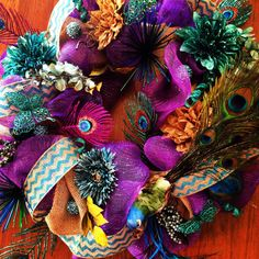 Beautiful colorful Peacock wreath by LindseysWreathBoutiq on Etsy