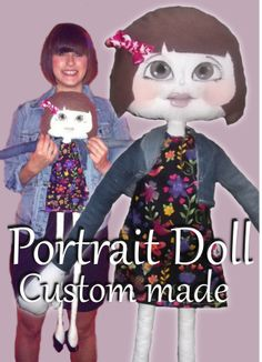 Bespoke Portrait doll. Cloth doll created from photos, hand painted, custom made by Hell Buddies  https://www.facebook.com/Hellbuddies