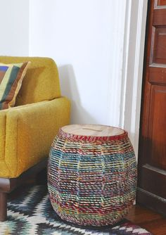 ~Recycled Sari Table ~ Lift the Wooden Lid for Storage ~ Mid Century Modern ~ Fair Trade and Handmade Ethical Home Decor