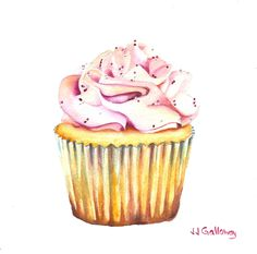 """""""Bon Gâteau Rose"""" by JJ Galloway: Something sweet for today - my latest watercolor cupcake."""