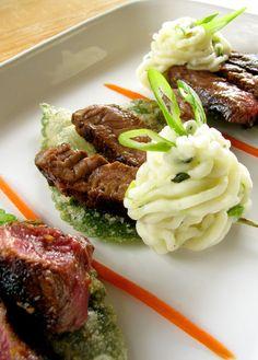Sirloin Steak with Shiso Scallion Mashed Potatoes