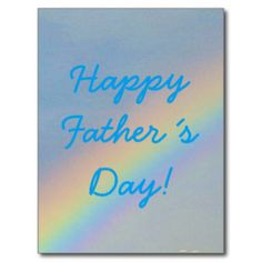 Happy Father´s Day Colorful Rainbow Blue Sky Photo Postcard