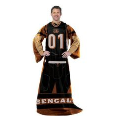 Cincinnati Bengals NFL Uniform Comfy Throw Blanket w/ Sleeves