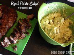 Ranch Potato Salad with Greek Yogurt via Being Cheap is Easy