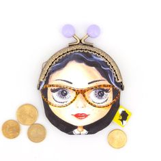 Porte-monnaie original, illustré visage à lunettes, fait-main avec fermoir clip métal, cadeau pour femme, pour la fete des meres, 8x12 cm Clip, Etsy, Enamel, Motifs, Parfait, Accessories, France, Woman Face, Handmade