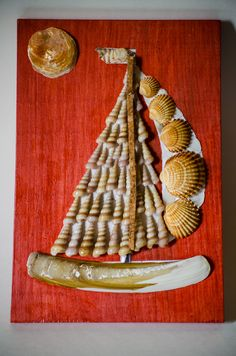 "Nautical Picasso seashell mosaic kit ""Sail"". Feel yourself like a real artist!"