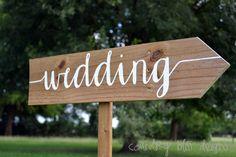 Custom Wedding Sign, Wooden Wedding Sign, Wedding Sign, Reception sign, Arrow Sign, Wedding Name Signs, Beach Wedding Sign, Wedding Arrow by countryblissdesigns on Etsy https://www.etsy.com/listing/198822167/custom-wedding-sign-wooden-wedding-sign