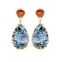 mytheresa.com Abalone & Crystal Gold Plated Earrings