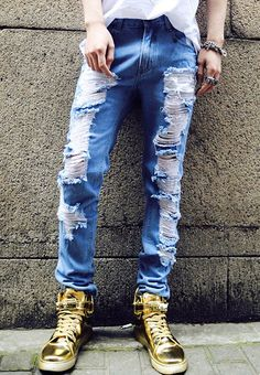 Wish | Mens Casual Jeans Vintage Hole Denim Pants | emy shop ...