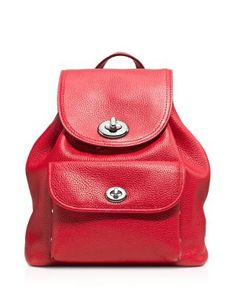 COACH Pebble Mini Turnlock Backpack. #coach #bags #leather #lining #backpacks
