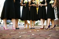 black bridesmaid dresses with colorful shoes...how cute!