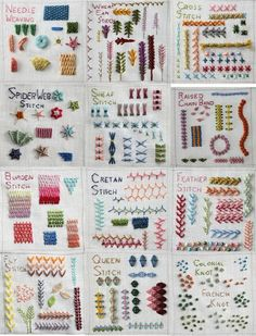 Examples of embroidery stitches