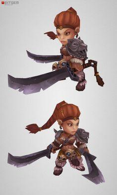 Chibi Barbarian Girl Sonya Is rushing in to join our mini Viking Eric in epic battles.