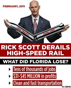 Throwback Thursday: Three years ago this month, Rick Scott rejected federal investment for high-speed rail in Florida. — SHARE to tell Rick Scott you will never forget.