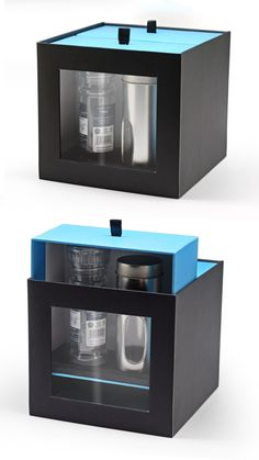 This luxury rigid box packaging that we developed for a company that exports a large variety of spices, was a very special piece. It includes a window to show the contents, along with two vertical drawers that are pulled up by a tab. Very unique in its construction, this box has been a repeated best seller for us.