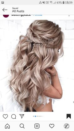 50 chic and elegant wedding hairstyles ideas for Bride 2019 - New Site Long Hair Wedding Styles, Elegant Wedding Hair, Wedding Hair Down, Wedding Hairstyles For Long Hair, Wedding Hair And Makeup, Bride Hairstyles, Down Hairstyles, Pretty Hairstyles, Long Hair Styles