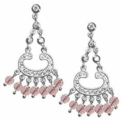 Celebrity Sterling Silver Chandelier Earrings with Simulated Diamond CZ and Soft Pink CZ Beads by Glitzs, http://www.amazon.ca/dp/B00ABNDHEW/ref=cm_sw_r_pi_dp_P4Cgtb04V61VT