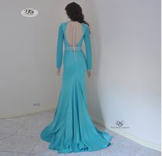 Long Sleeve Round Neck Evening Gown Style 6601 in Aqua Blue by Miracle Agency Sunset Party, Aqua Blue Color, Designer Evening Gowns, Bridal And Formal, Stretch Satin, Chic Dress, Formal Evening Dresses, Fitted Bodice, Formal Wear