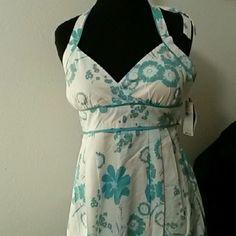 Sundress Halter style aqua and white cotton blend size 5 Dresses Midi