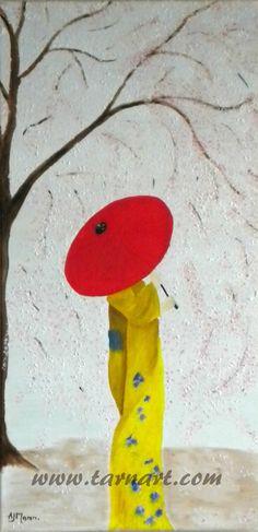Japanese cherry tree, red umbrella painting, pointillism painting, cherry blossom art, 3d art on canvas, spring wall art, fine art painting