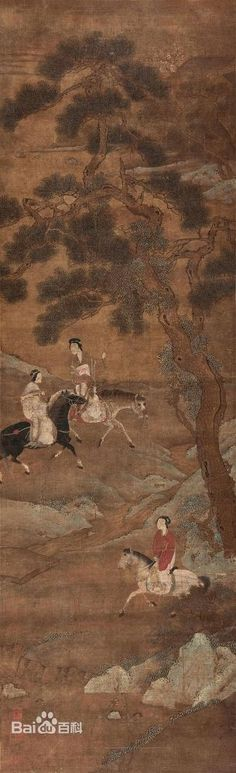 Ladies on horses in pine woods, ink painting by Qiu Ying (1494 - 1552), a Ming Dynasty scholar artist
