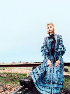 Where The Sea Meets The Sky: Ola Rudnicka by Koto Bolofo for Harper's Bazaar UK April 2016 - Erdem Spring 2016