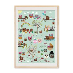 NEW A3 Format: Cute Owl Parc collage poster print. $25.00, via Etsy.