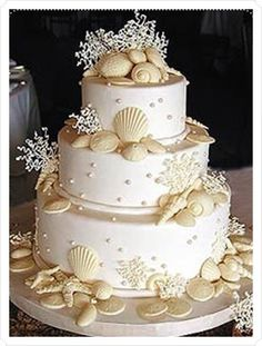 Beach wedding cake!...   hmmmm great Idea for a Beach wedding.... And by Beach I mean the last name Beach... Gonna keep this picture for my future daughter n law....