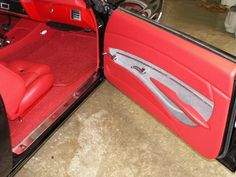 #BecauseSS Shannon interior | 1971 Chevelle Four Bucket Seats Full Console red interior grey silver black custom door panels chevelle 71