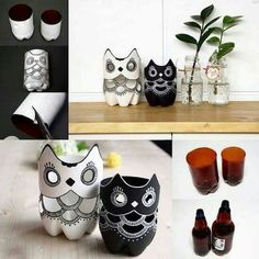 (via How to make DIY plastic bottle owl lamp step by step tutorial instructions Reuse Plastic Bottles, Plastic Bottle Crafts, Recycled Bottles, Owl Crafts, Diy And Crafts, Arts And Crafts, Kids Crafts, Cool Art Projects, Craft Projects