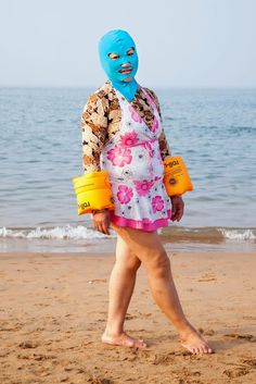 Facekinis in Qingdao Beach, China.