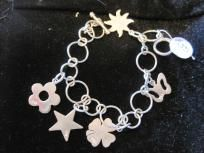 STERLING SILVER BRACELET WITH CHARMS N.1. FREE SHIPPING!!