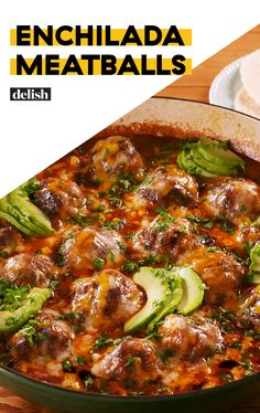 Meatballs Enchilada Meatballs are the BEST meatballs you'll ever make. Get the recipe at .Enchilada Meatballs are the BEST meatballs you'll ever make. Get the recipe at . Meatball Recipes, Meat Recipes, Mexican Food Recipes, Dinner Recipes, Cooking Recipes, Healthy Recipes, Meatball Dinner Ideas, Recipes Using Meatballs, Meatball Dish