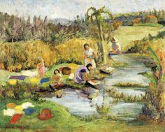 As lavadeiras, década de 1920 Anita Malfatti (Brasil, 1889-1964) óleo sobre madeira, 38 x 46 cm [Retrata a fazenda de Tarsila do Am...