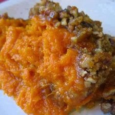 Ingredients : 1 cup brown sugar 1/3 cup flour 1 cup chopped nuts (pecans preferred) 1/2 cup butter (melted) SWEET POTATO MIXTURE 3 cups mashed sweet potatoes (can use canned to save time, just drain) 1 cup sugar 1/2 teaspoon salt 1 teaspoon vanilla 2 eggs (well beaten) 1/4 cup butter, melted (1/2 cup) Directions : Combine brown sugar, flour, nuts and butter in mixing bowl. Set aside. Preheat oven to 350 degrees. Combine sweet potatoes, sugar, salt, vanilla, eggs and butter in a mixing bowl…