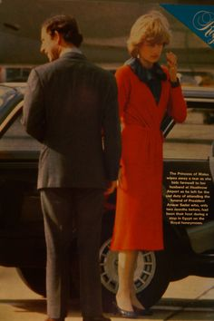 sad and unwelcome interruption to the honeymoon at Balmoral - Charles and Diana farewell ing at Heathrow October 1981, Charles heading off for Sadats funeral, whom hey had dined with earlier in their honeymoon.