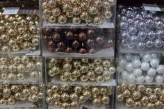 Gold small baubles at New Covent Garden Flower Market - Christmas 2015