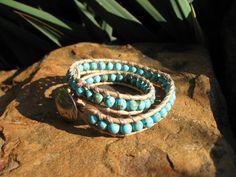 Sky Blue Turquoise Leather Wrap. $32,00, via Etsy.