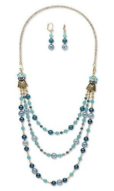Triple-Strand Necklace and Earring Set