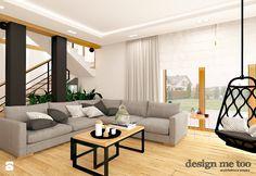 DOM W LESZNOWOLI - Duży salon z tarasem / balkonem, styl nowoczesny - zdjęcie od design me too