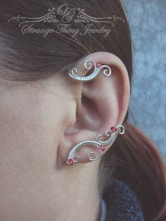 Pair of wire wrapped ear cuffs Winter by StrangeThingJewelry