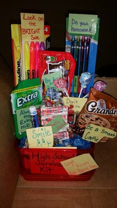 High school survival kit- some cute ideas to include in a care package. Love the highlighters and saying to look on the BRIGHT side, also always go the EXTRA mile