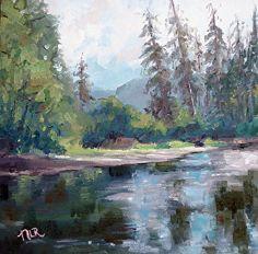 Satsop River by Nancy Romanovsky Oil ~ 8 x 8